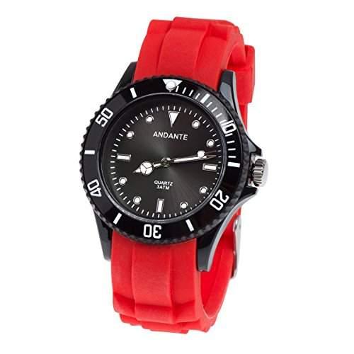 Andante Sportliche Wasserdichte Unisex Armbanduhr Silikon Uhr Quarz 3ATM ROT SCHWARZ AS-5005