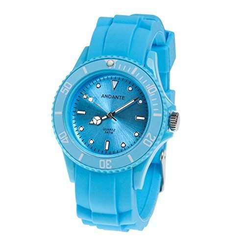 Andante Sportliche Wasserdichte Unisex Armbanduhr Silikon Uhr Quarz 3ATM BLAU AS-5008