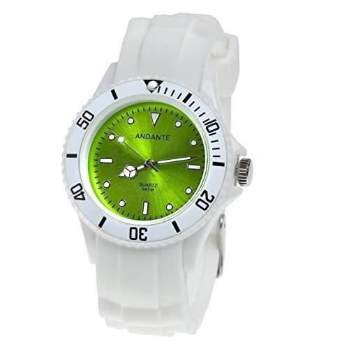 Andante Sportliche Wasserdichte Unisex Armbanduhr Silikon Uhr Quarz 3ATM WEISS GRUEN AS-5009