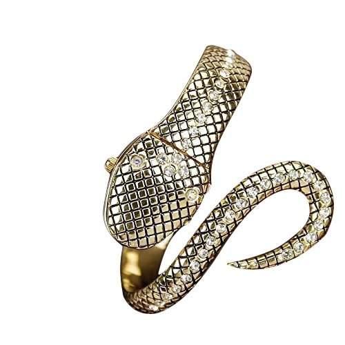 Andante 14K Gold Schlange Stil Armbanduhr mit versteckter Uhr - Quarz - Analog - Wasserdicht - AS5012