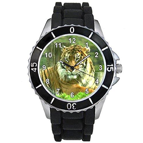 Bengalischer Tiger Motiv Uhr Unisex mit Silikonband
