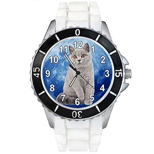 British Shorthair Katze Motiv Uhr Unisex mit Silikonband