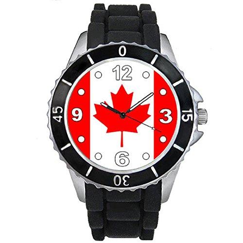 Canada Laender Flaggen Uhr Unisex Erwachsene mit Silikonarmband
