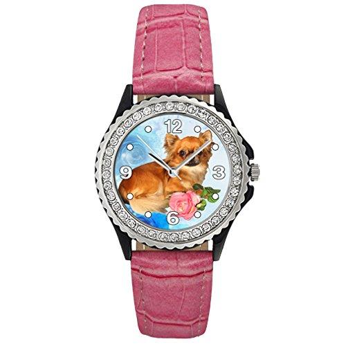 Chihuahua Strass mit Lederarmband in rosa