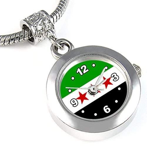 Freies Syrien Laender Flaggen Uhr fuer Armbaender und Ketten