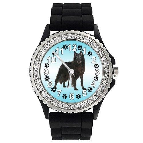 Groenland Hund Strass Damenuhr mit Silikonband