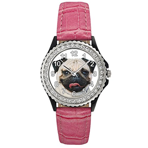Mops Strass mit Lederarmband in rosa