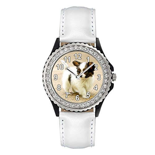 Papillon Welpe Strass mit Lederarmband in weiss
