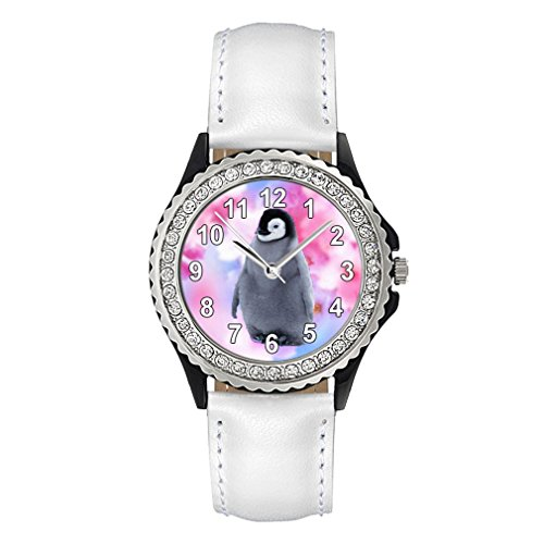 Pinguin Strass mit Lederarmband in weiss