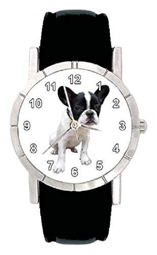 Franzoesische Bulldogge Hunde Motiv Damenuhr mit Lederarmband