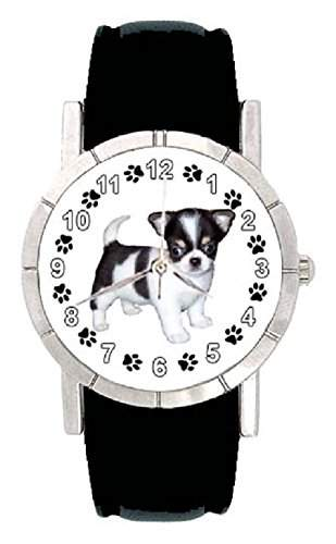 Chihuahua Welpe Hunde Motiv Damenuhr mit Lederarmband