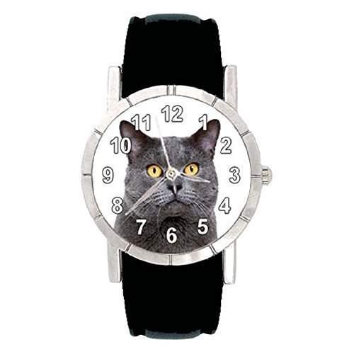 Chartreux Katze - Damenuhr mit Lederarmband schwarz