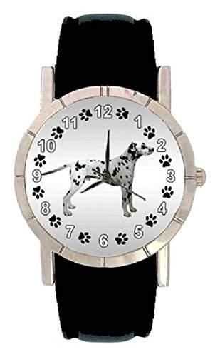 Dalmatiner Hunde Motiv Damenuhr mit Lederarmband