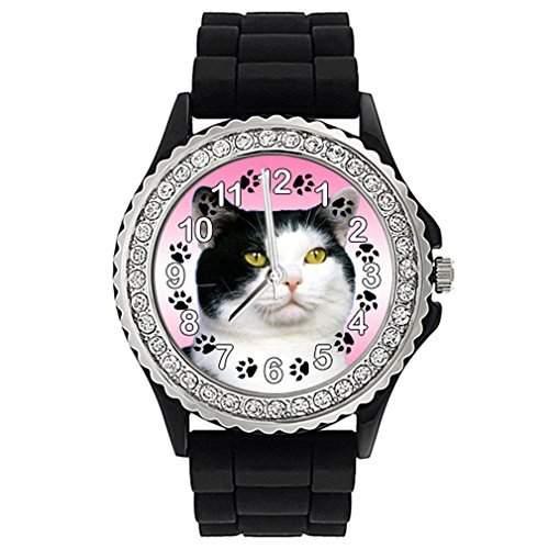 American Wirehair Katze Strass Damenuhr mit Silikonband