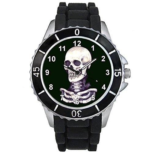 Timest Skull Totenkopf Motiv Uhr Unisex mit Silikonarmband Rund Analog Quarz CSE022CC schwarz