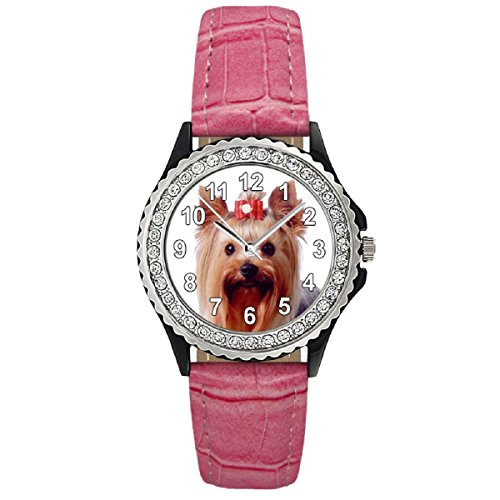 Yorkshire Terrier Strass mit Lederarmband in rosa