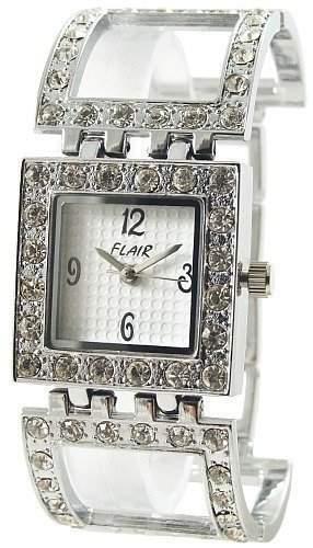 Modische Damenuhr Silber Weiss Analog Metall Strass Modeuhr Armbanduhr Quarz Uhr