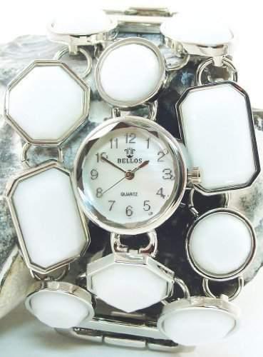 Bellos Damenuhr Weiss Silber Analog Metall Strass Armbanduhr Quarz Uhr