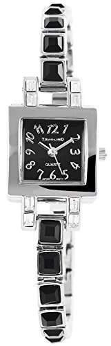 Modische Damenuhr Schwarz Silber Analog Metall Armbanduhr Quarz