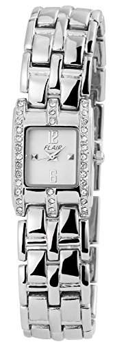 Klassische Damenuhr Weiss Silber Analog Metall Strass Armbanduhr Quarz