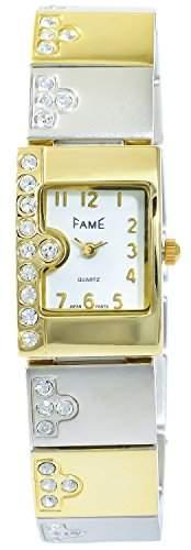 Modische Damenuhr Weiss Silber Gold Analog Metall Strass Armbanduhr Quarz Uhr