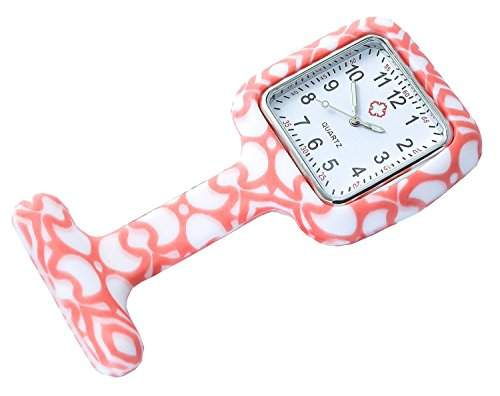"""Bellos Krankenschwester Uhr """"Orange Art"""" Weiss Orange Ansteckuhr mit Nadel Damenuhr"""