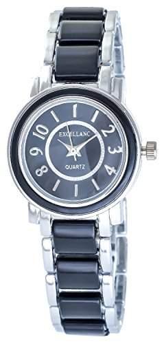 Damenuhr Schwarz Silber Analog Metall Armbanduhr Quarz Uhr