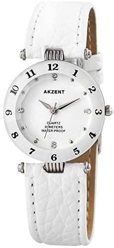 Modische Cutglas Damenuhr Weiss Silber Strass Analog Metall Leder Armbanduhr Quarz Uhr