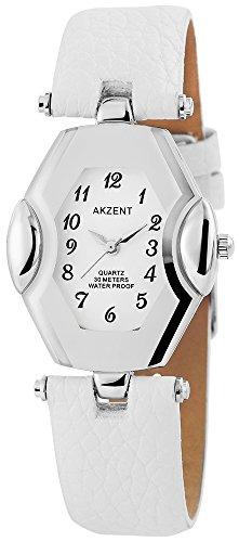 Analoge Weiss Silber Analog Metall Leder Armbanduhr Quarz Uhr