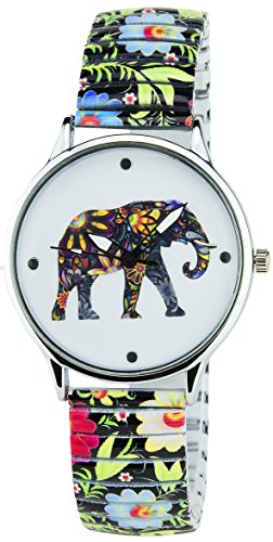 BELLOS Damen Armbanduhr weiss Elefanten Quarz Gehaeuse Stahl Analog Display Typ Armband Stahl Multicolor