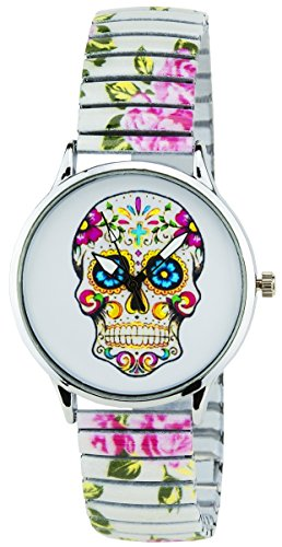 BELLOS Damen Armbanduhr weiss Hirnkasten Quarz Gehaeuse Stahl Analog Display Typ Armband Stahl Multicolor