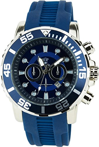 BELLOS Herren Armbanduhr blau Quarz Datum Stahl Analog Display Typ stilvoll Sport Modus Armband blau Silikon