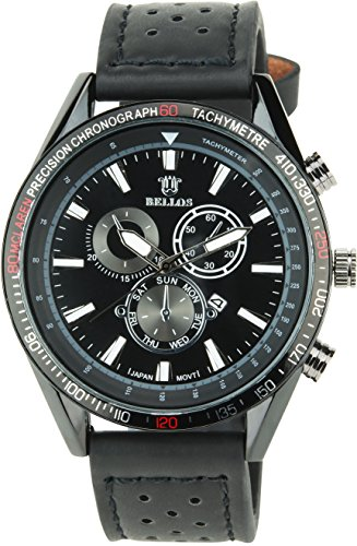 BELLOS Herren Armbanduhr schwarz Quarz Stahl Datum Analog Display Typ stilvoll Sport Modus Armband schwarz Kunstleder