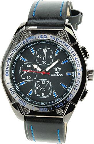 BELLOS schwarz blau Quarz Stahl Analog Display Typ stilvoll Sport Modus Armband schwarz Kunstleder