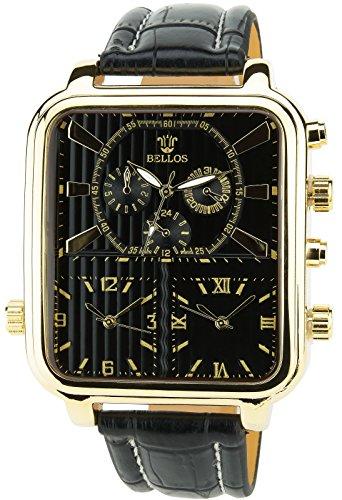 BELLOS schwarz Gold Quarz Stahl Dreifach Zeitzone Rechteck Analog Display Typ stilvoll Sport Modus Armband schwarz Kunstleder