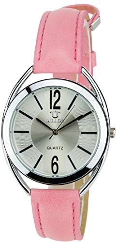 BELLOS Silber Quarz Stahl Analog Display Typ stilvoll Sport Modus Armband Rosa Kunstleder