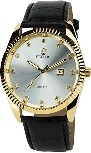 BELLOS Silber Gold Quarz Stahl Datum Analog Display Typ stilvoll Sport Modus Armband schwarz Kunstleder