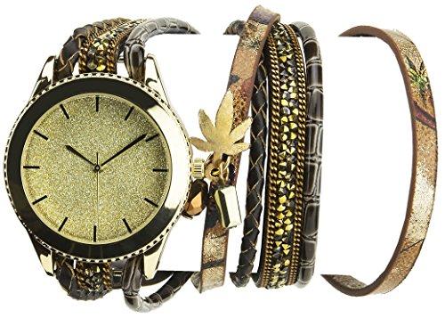 Bellos Damen Armbanduhr Gold Quartz Gehaeuse Stahl Analog Armband Kunstleder Doppel Tour braun