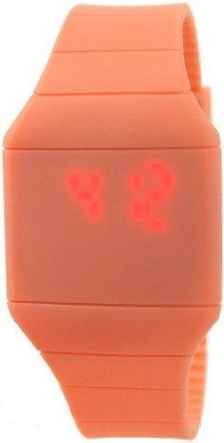 Bellos Orange Digital Touch LED Armbanduhr Alarm Unisex Quarz