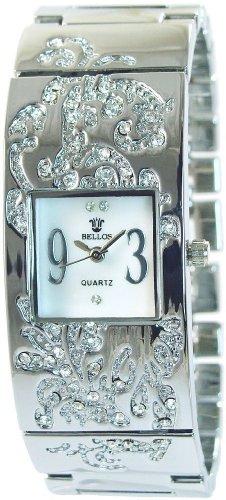 Bellos Weiss Silber Analog Metall Strass Perlmutt Armbanduhr Quarz Uhr