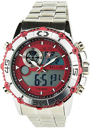 BELLOS Herren Armbanduhr rot Quarz Gehaeuse Stahl Analog Display Typ Digital Alarm Chronometer Zwei ZeitzonenSport Water resist 30M 3ATM Armband Stahl Silber