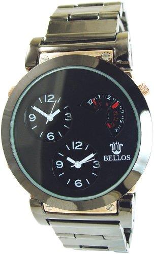 Bellos Schwarz Analog Metall Triple Timer 3 Zeitzonen Quarz Uhr
