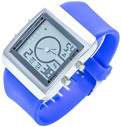 Bellos Blau Analog Digital verschiedenfarbige Beleuchtung LED Alarm Chrono Stoppuhr