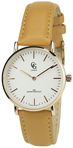 GG Luxe Damen Armbanduhr soldes Valentinstag Silber Gold Quartz Gehaeuse Stahl Analog Water Resist 30 m 3atm Armband Leder braun