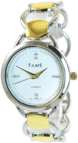 Weiss Silber Gold Strass Analog Metall Armbanduhr Quarz Modeuhr