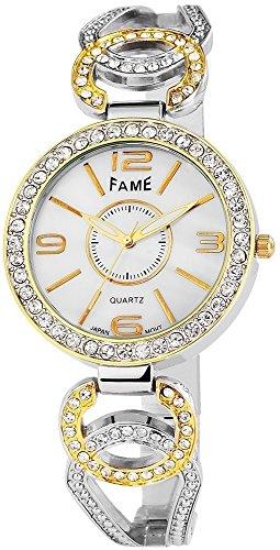 Elegante Weiss Silber Gold Analog Metall Armbanduhr Strass Perlmutt Uhr