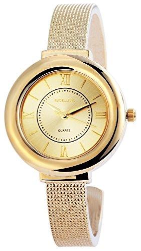 Elegante Damenuhr Spangenuhr Gold Analog Metall Armbanduhr Quarz Uhr