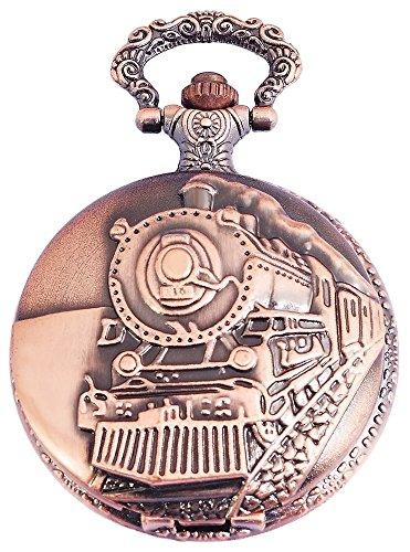 Elegante Taschenuhr Weiss Bronze Look Eisenbahn Zug Lok Metall Analog Quarz