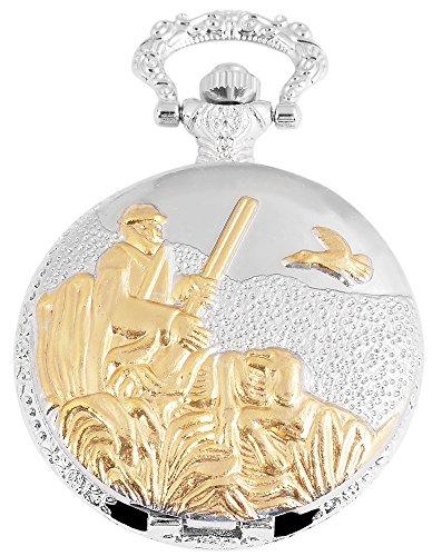 Elegante Taschenuhr Weiss Gold Silber Jaeger Jagd Analog Quarz