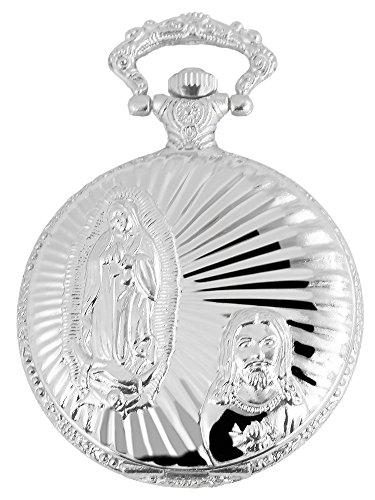 Elegante Taschenuhr Weiss Silber Jesus Maria Christ Metall Analog Quarz
